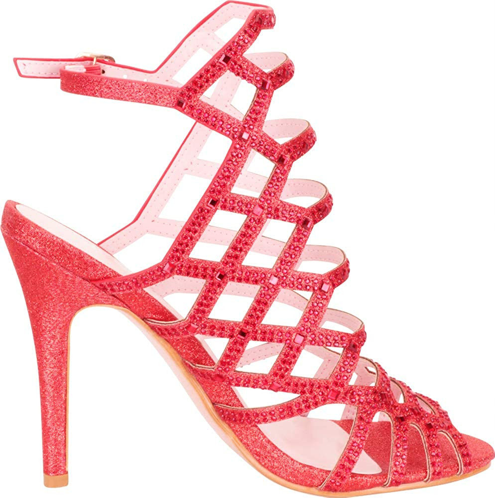 Cambridge Select Womens Cutout Caged Crystal Rhinestone Stiletto High Heel Dress Sandal