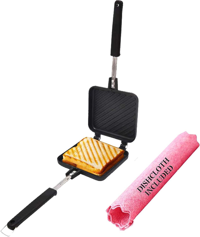Grilled Sandwich Panini Maker with Dishcloth Volkninker Hot Sandwich Maker Pan Nonstick Aluminum Flip Pan
