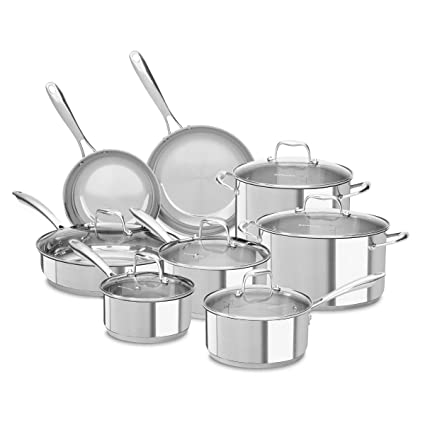 KitchenAid KCSS14LS 18/10 Stainless Steel 14 Piece Cookware Set with Glass  Lids