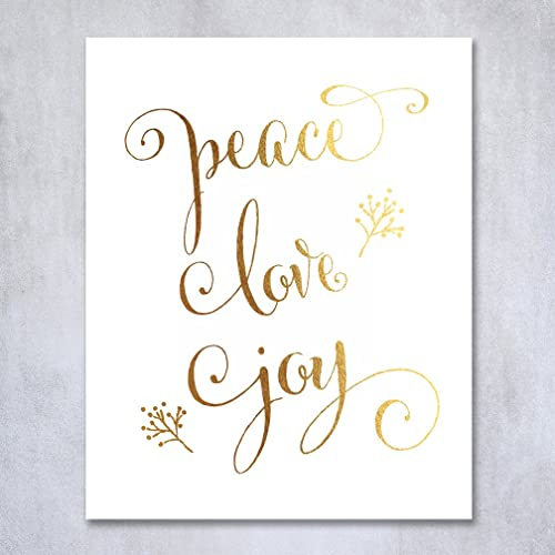 Superior Peace Love Joy Gold Foil Print 8x10u0026quot; Or 5x7u0026quot; Winter Holiday Quote  Poster Metallic