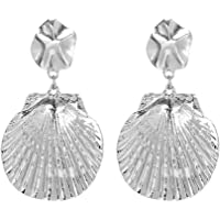 Haluoo Seashell Earrings, Chic Seashell Stud Earrings Vintage Sea Shell Drop Earrings Ocean Themed Statement Earrings Jewelry Gift for Women Girls