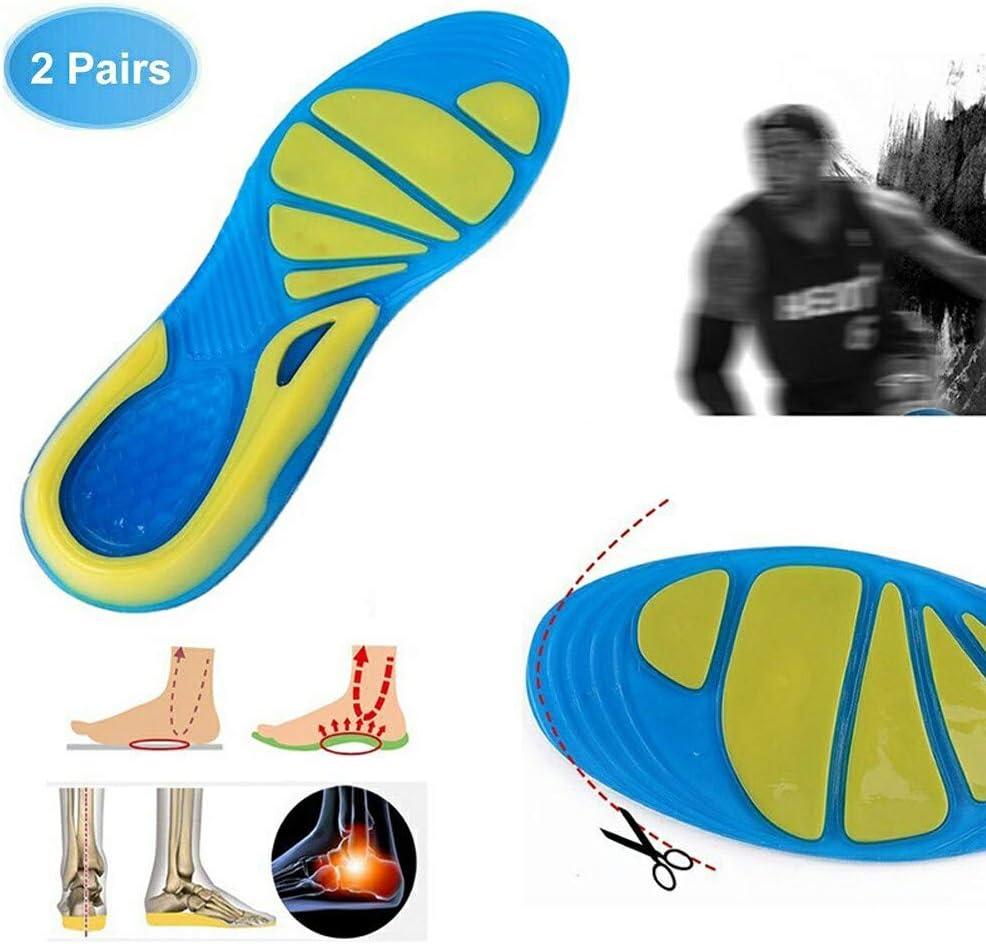 La Fasciite Plantaire Ultra Confort Les Douleurs au Niveau du Talon Shock Absorbant Marcher Courir LONG-X 2 Paires Silicone Semelles Orthop/édique Hommes Femmes