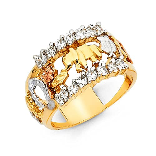14K Solid Yellow Gold Cubic Zirconia Elephant Lucky Ring