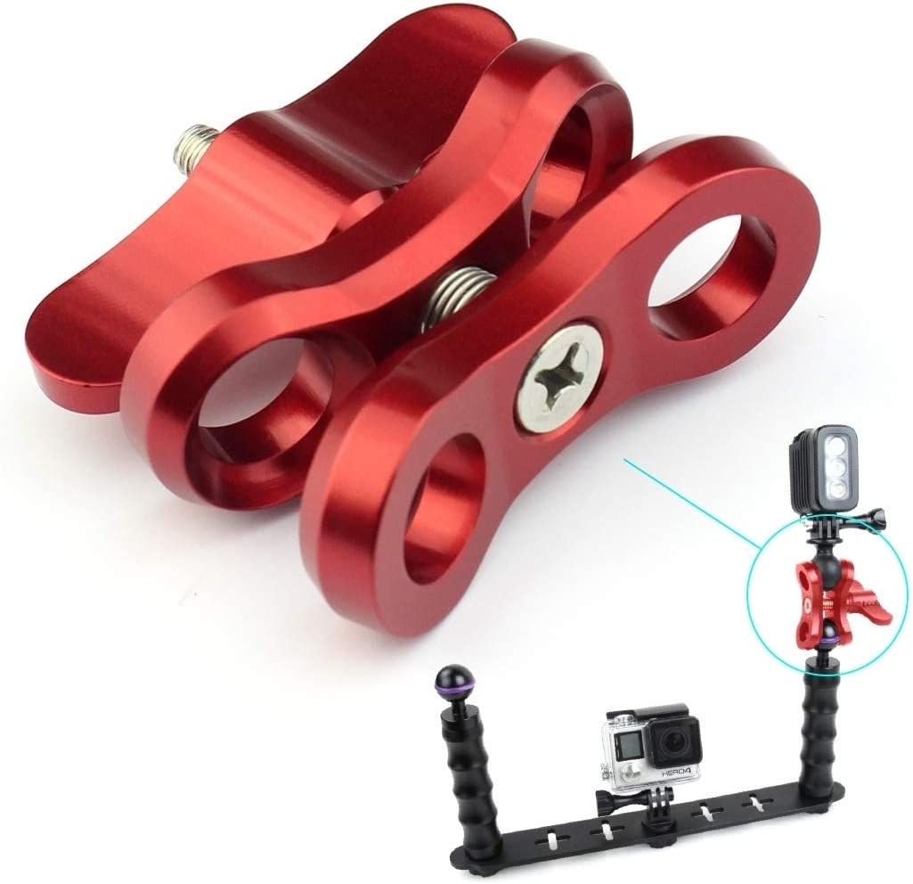 Red QJang 2 Holes Butterfly Clamp Close Hole Adjustable Aluminum Diving Light Bracket Tripod Connector Ball Head Mount Adapter for Underwater Diving DJI Osmo GoPro Xiaoyi ShanGou Camera