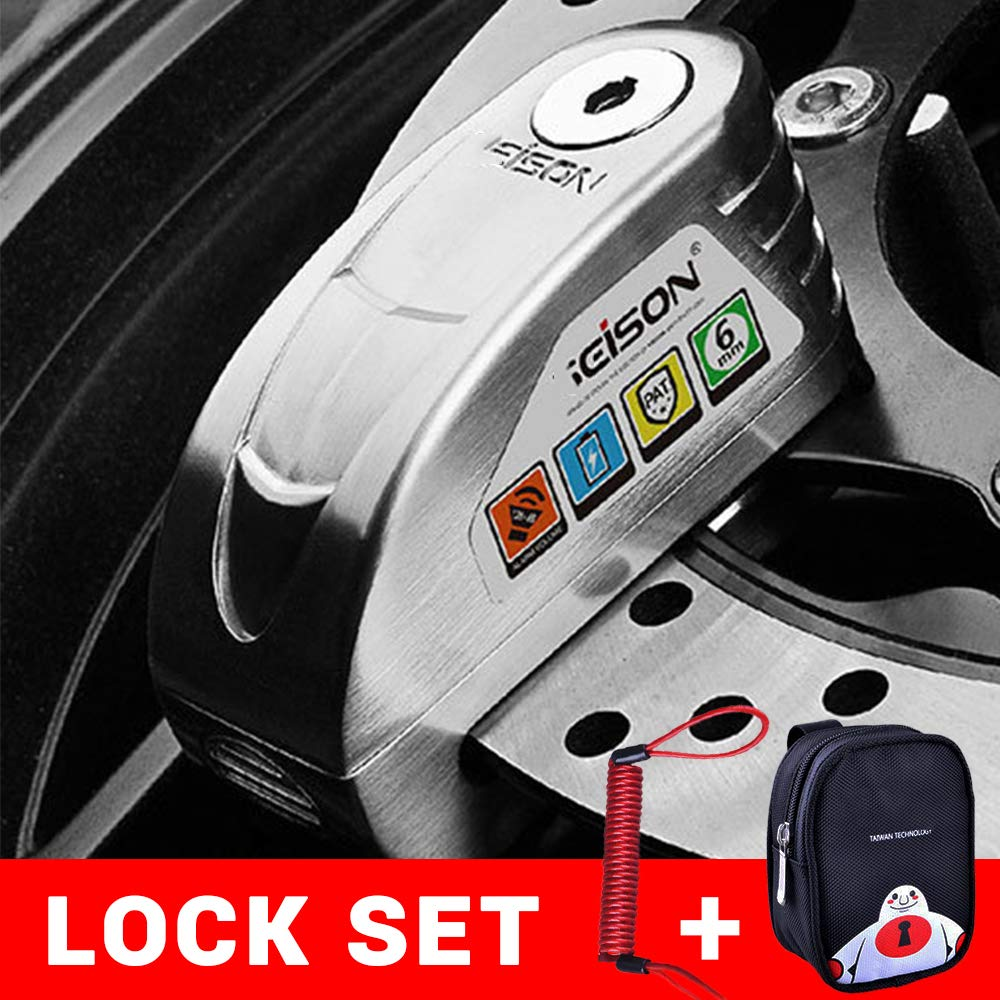 YLWSDDD Motorcycle Waterproof Alarm Lock Bike Steelmate Disc Lock Warning Security Anti Theft Brake Rotor Padlock DX1901Suit