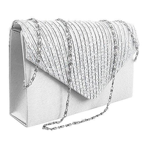 MeteorFlying Moda simple Mujer bolso de Mano de fiesta más fashion Los mejores regalos para novia esposa amante y amigos Ajuste para todo el estilo de la ropa Blanco