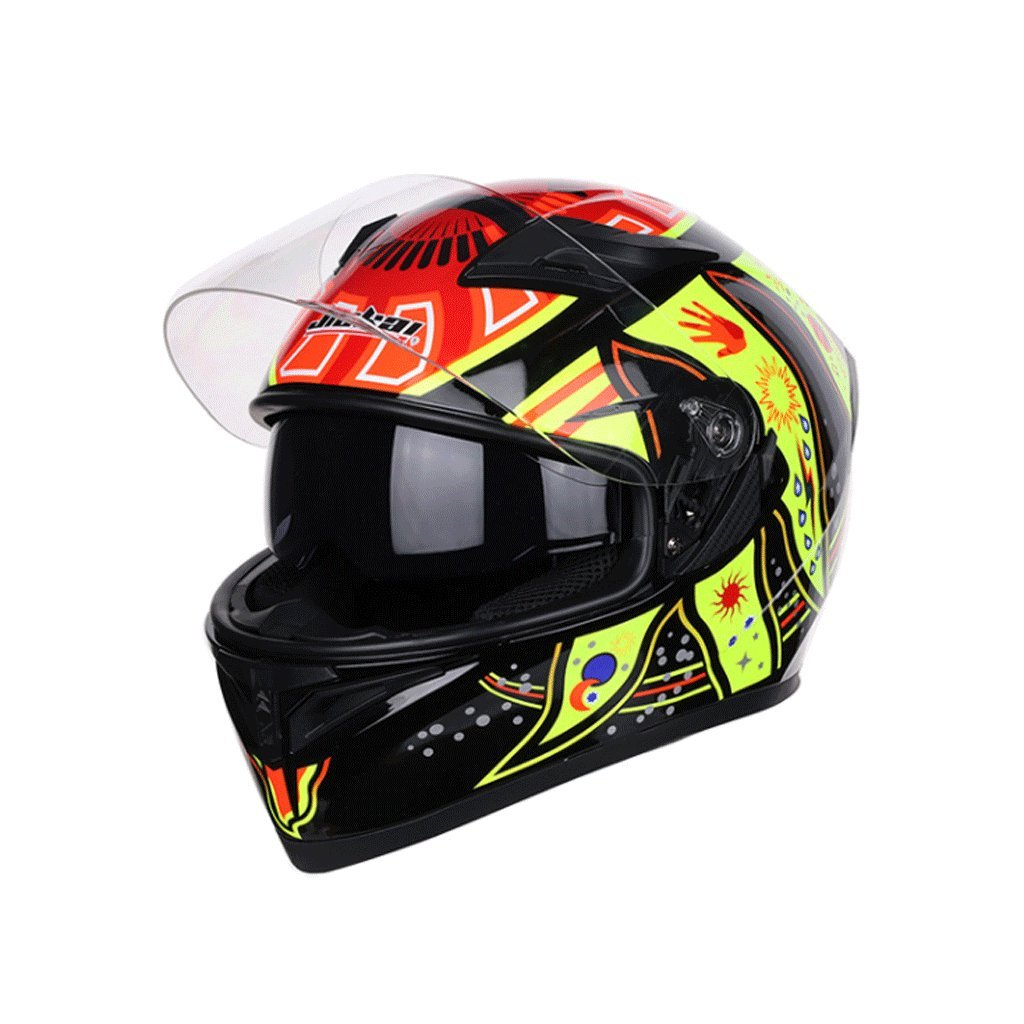 DGF オートバイのヘルメットの男性と女性のフルヘルメットカバークールシーズンの4つのコーナーの機関車のレーシングヘルメット (色 : A, サイズ さいず : XXL) B07FKP4MLL XX-Large|A A XX-Large