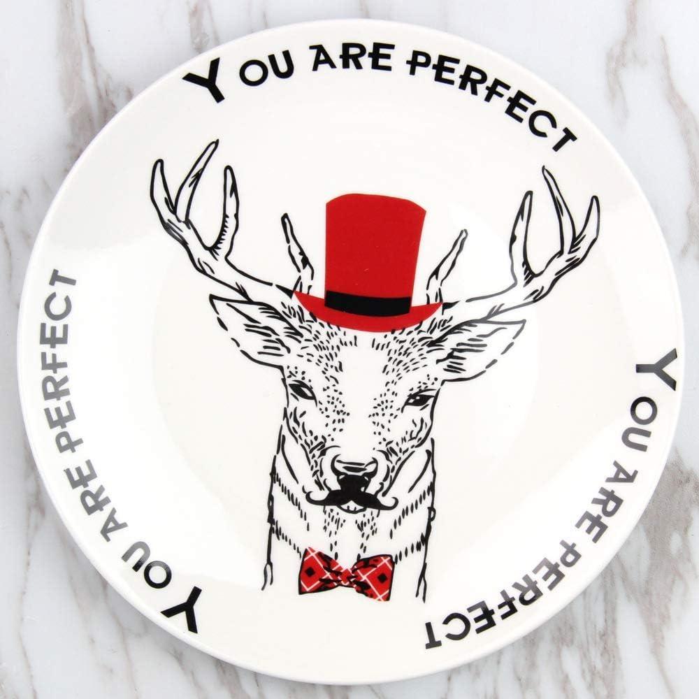 DJY-JY Placa creativa de la torta de la historieta del desayuno de la placa de cerámica del hotel Western Plate restaurante Steak Plate Reno 20.5cm