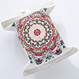 Folk-custom Rectangular Tissue Box Holder Cover Case Tray Pumping , Cloth Linen Rectangle Napkin Container Dispener Paper Storagefor Wall Mount Home Office Car Automotive Decorative (Bohemia)