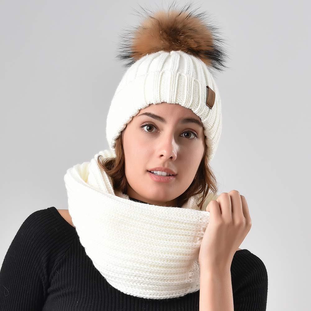 FURTALK Winter Knit Hat Real Raccoon Fur Pom Pom Womens Girls Warm Knit  Beanie Hat larger image 84726eafa7b6