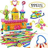 Peradix Building Toys 111 PCS Flexible Building Sticks Kids STEM Learning Toys Set Educational Activity, DIY Gift Soft Bendable Sculpting Sticks Motor Skill Toys Building Blocks Storage Bag