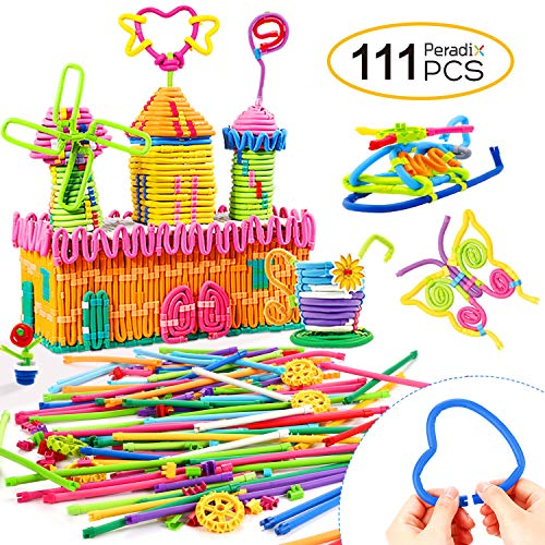 Peradix Soft Building Sticks Toys 111 PCS Kids STEM Learning Educational Building Construction Set for 6 year old