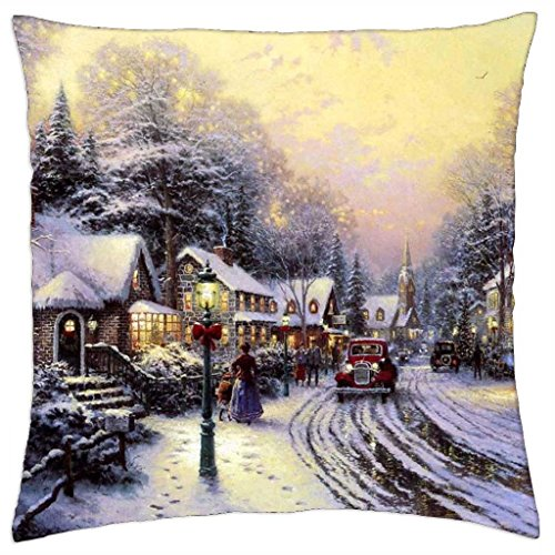 Village Christmas - Thomas Kinkade - Throw Pillow Cover Case (18