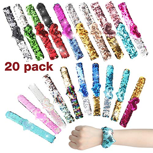 Heart Lightweight Bracelet - FinalBase 20Pcs Slap Bracelets with Colorful Hearts Party Favors for Kids, Two-Color Reversible Sequin Bracelets, Class Prizes for Girls,Wristband for Kids Little Mermaid Party Supplies