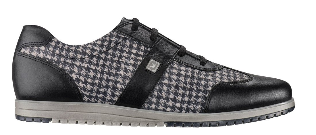 FootJoy Casual Collection Spikeless Golf Shoes CLOSEOUT Women Black/Black Houndstooth Medium 8