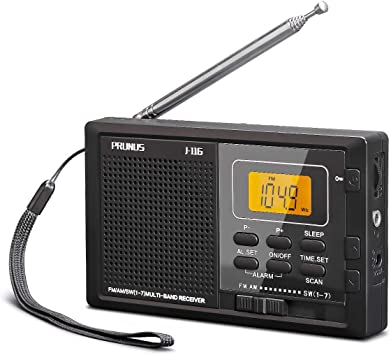 Radio Portátil Pequeña de Bolsillo Digital, PRUNUS J-116 Transistor Am FM SW DSP Radio de Batería con Temporizador de Apagado, Memoria Preestablecida, Tecla de Bloqueo, Reloj Despertador: Amazon.es: Electrónica