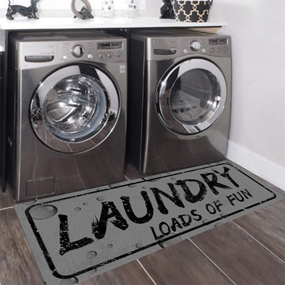 Abreeze Laundry Room Load of Fun Rug Floor Mat for Washroom Mudroom Non Skid Rubber Waterproof Kitchen Mat, 20x48,Grey