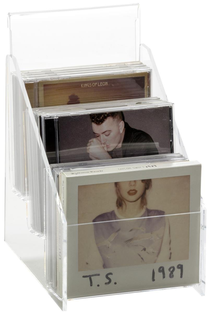 Displays2go 3-Tiered Countertop CD Racks, Holds 15 Jewel Cases, Set of 2 – Clear (AMZCD15HD)