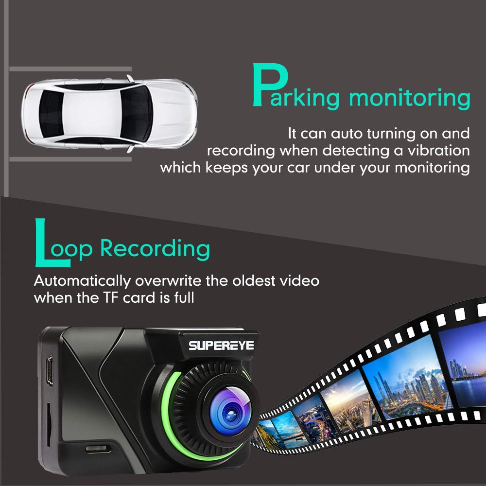 SuperEye Dashcam Auto Dash Camera Auto Autokamera Mit Bewegungserkennun G-Sensor Nachtsicht Full HD 1080P Mini Dash Cam 170/°DVR Rekorder WDR Loop-Aufnahme Parkmonitor