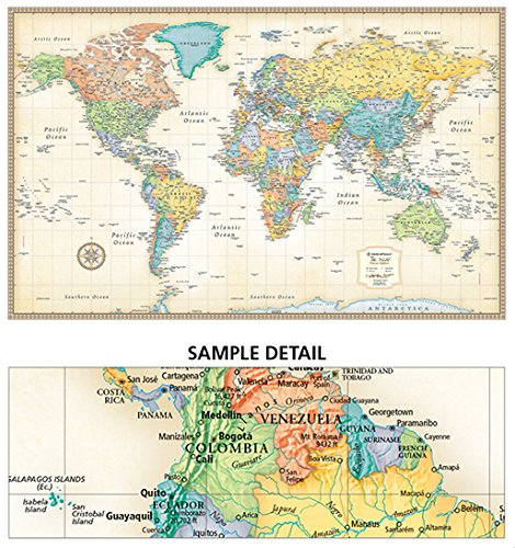 Rand McNally Classic World Wall Map Laminated Rand McNally - Map of the world in detail