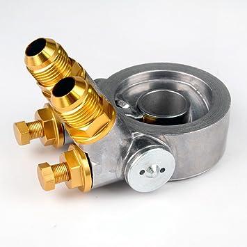 New Full Aluminum Gold Thermostat AN10 Oil Filter Cooler Sandwich Plate Adapter w//80 Deg 176 F 10AN
