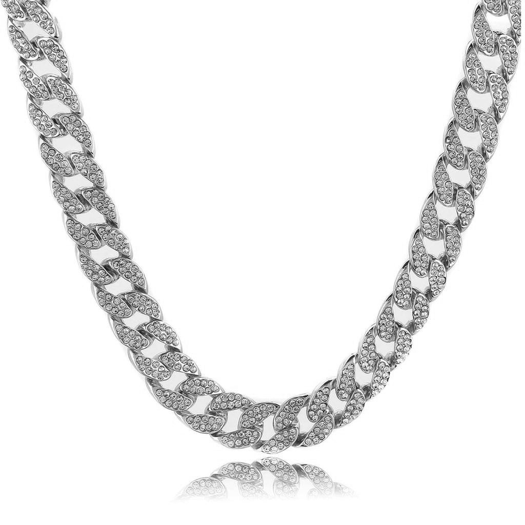 Prisa Times Hip Hop Quavo Choker Full Iced Out Miami Cuban Necklace (silver, 24)