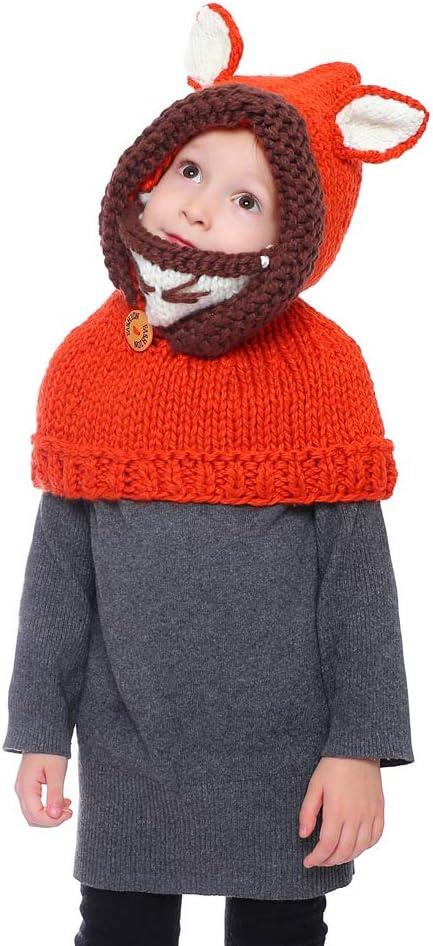 Xinqiao Kids Winter Warm Hat Knitted Fox Animal Hood for 4-8 Years Boys Girls Fox