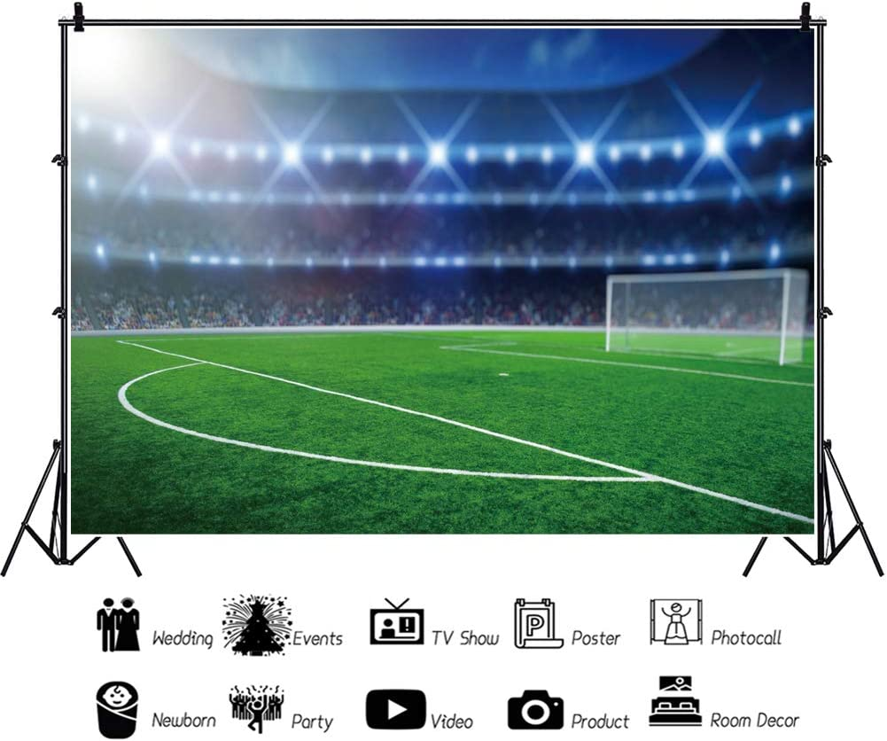 YongFoto 10x9ft Soccer Sports Photography Background Green Grass Land Stadium Spot Lights Football Goal White Lines Soccer Field Photo Backdrop World Cup Celebration Home Party Decor Birthday Banner