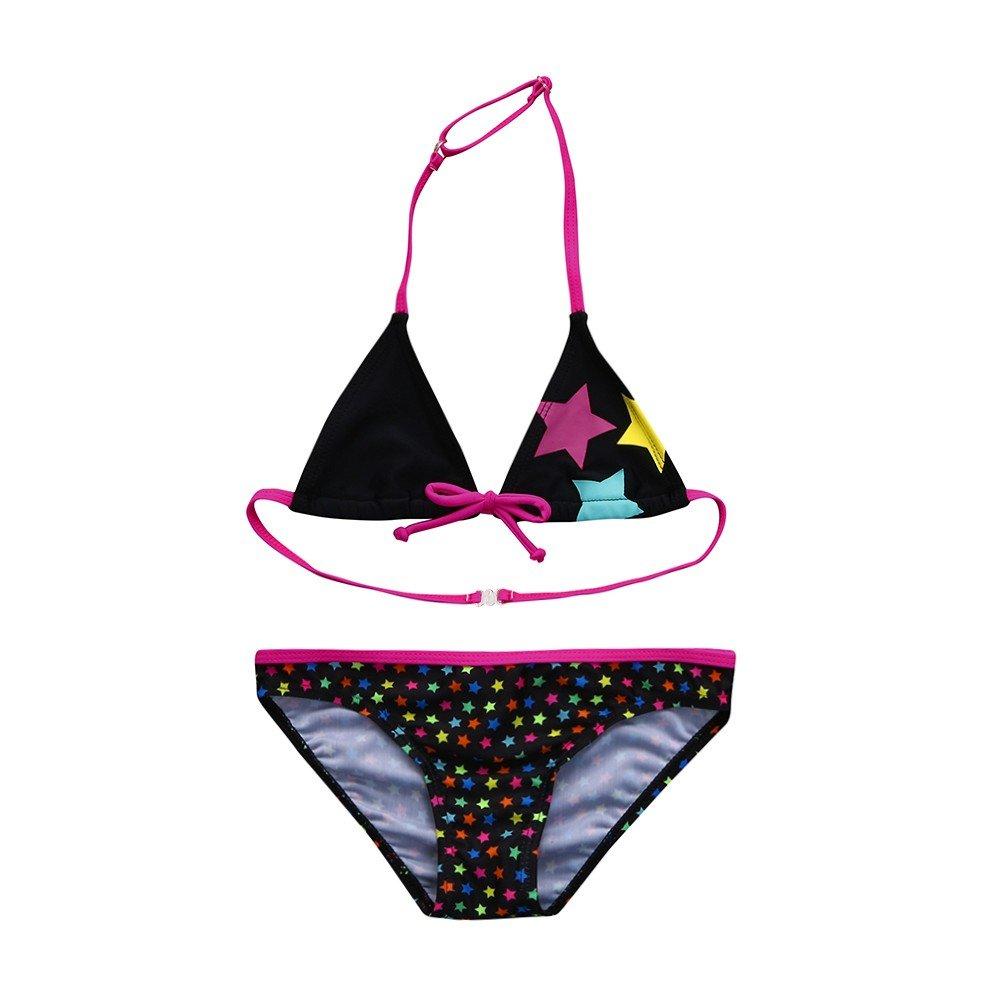 Fenleo Kids Baby Girls Stars Print Bowknot Bikini Swimsuit Bathing Suit Swimwear Set Outfit