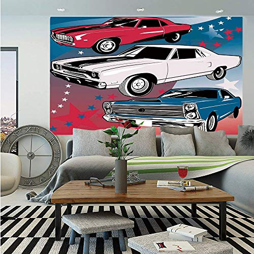SoSung Cars Huge Photo Wall Mural,Pop Art Stylized Group of Nostalgic American Muscle Cars with Stars Antique Print,Self-Adhesive Large Wallpaper for Home Decor 108x152 inches,Red Beige Blue