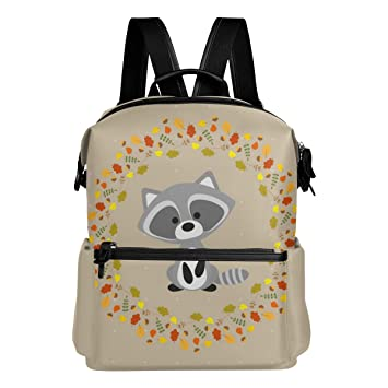 478a7eb7e7 ALAZA Raccoon Floral Casual Backpack Lightweight Travel Daypack Student School  Bag