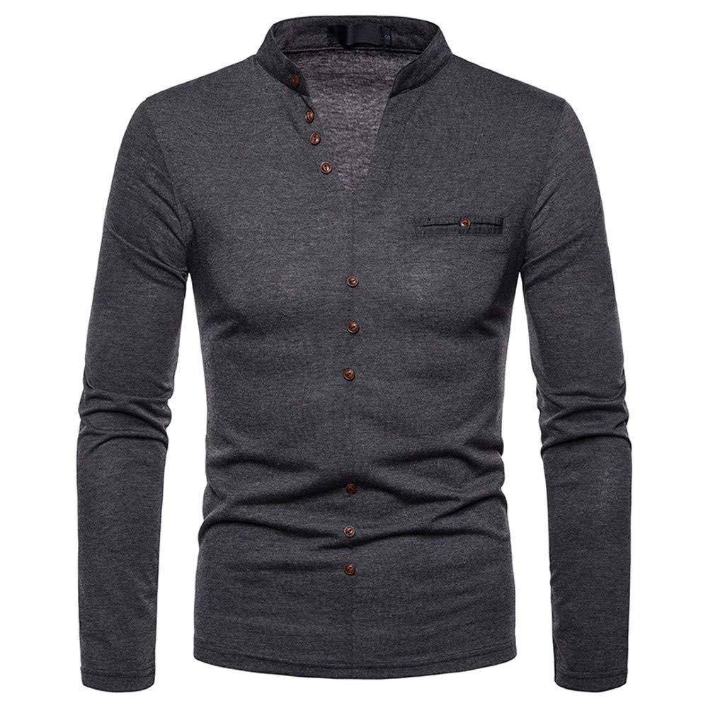 MEIbax Herren V-Ausschnitt Kaschmir Hemden Henley Langarmshirt Sweatshirts Oberteile Tops MEIbax Herren Shirt