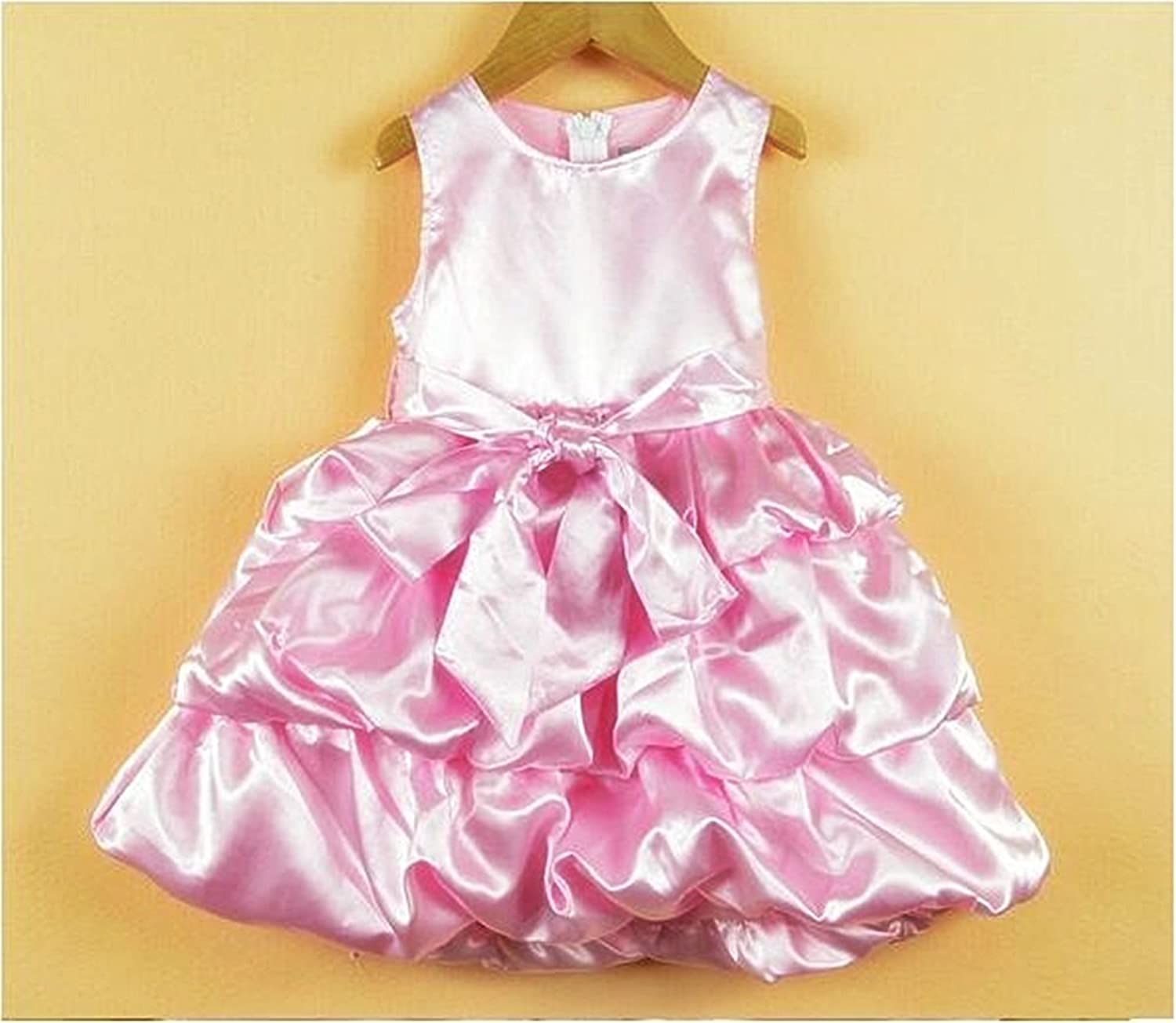 TheTickleToe Baby Kids Girls Satin Party Birthday Gown Dress Pink 2