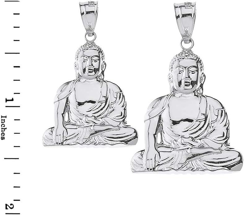Fashion 925 Sterling Silver Buddhism Buddhist Meditation Zen Buddha Pendant Necklace 1.37