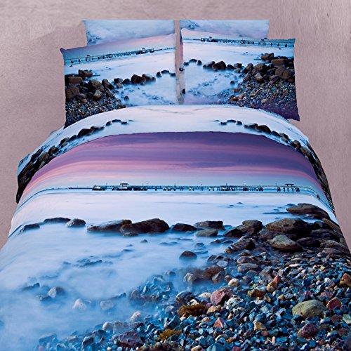 Alicemall 3D Blue Ocean Bedding Set 100% Cotton Pebbles in the Mist Purple Sky Print 4 Piece 3D Bedding Sets, 4 PCS Landscape Duvet Cover Sets, No Comforter (Twin)