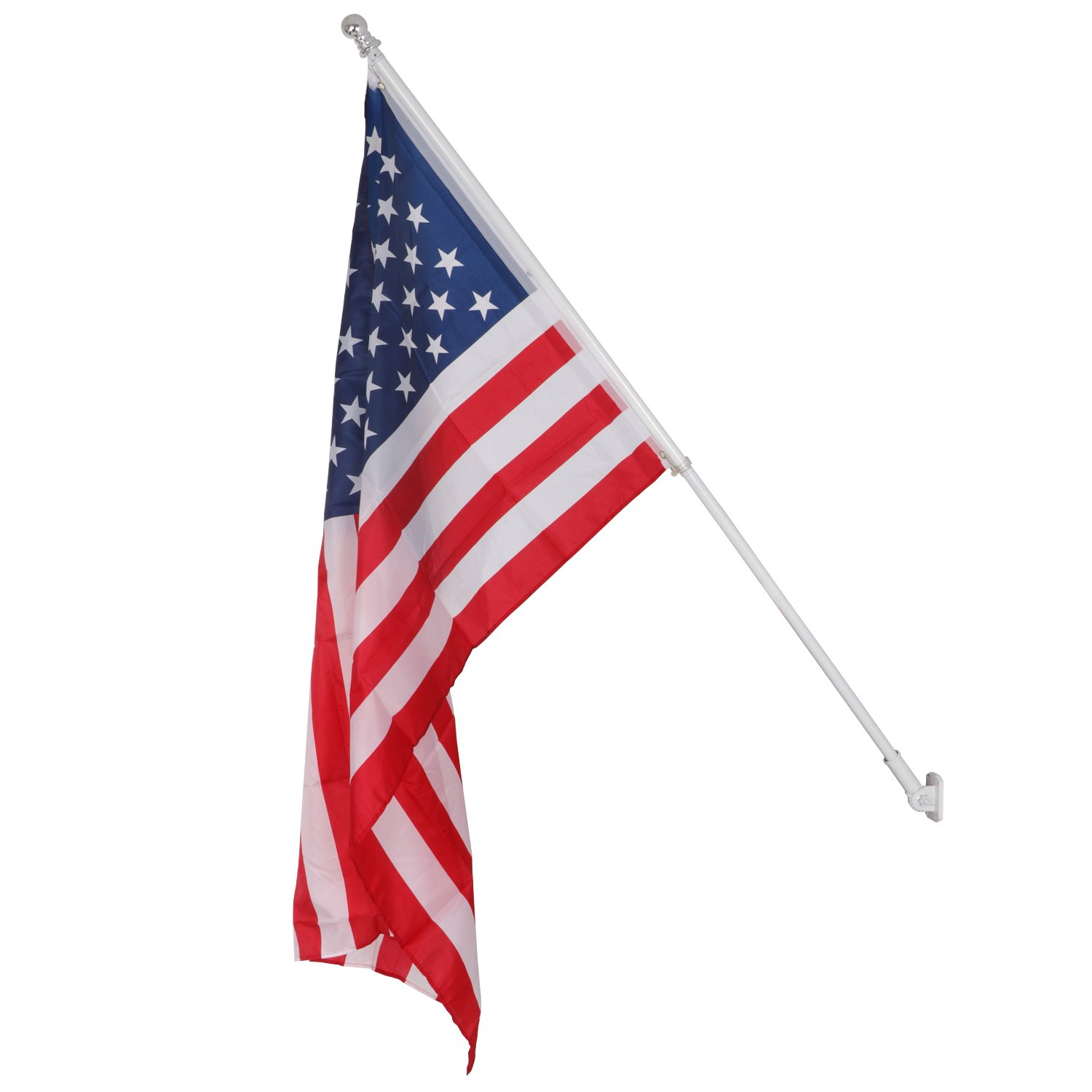 HomGarden Tangle Free Spinning Flagpole Residential or Commercial 6ft Flag Pole W/3'x5' US Flag Set, White