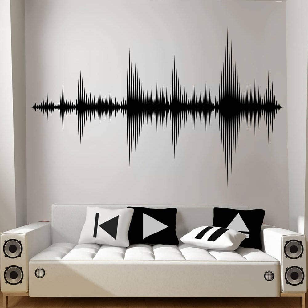 Diuangfoong Audio Wave Wall Decal Sound Wave Wall Sticker Recording Studio Music Producer Room Decor Bedroom Wallpaper Removable