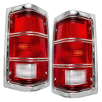 Driver and Passenger Taillights Tail Lamps with Chrome Replacement for Dodge Pickup Truck 4163151 4163150
