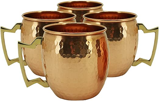 HANDMADE IN INDIA 18oz SET OF 2 100/% COPPER HAMMERED MOSCOW MULE MUG NEW