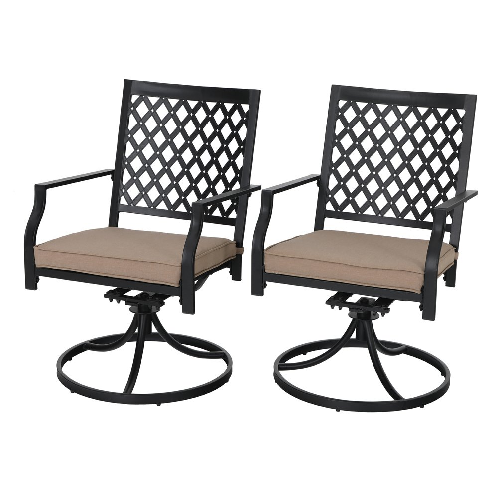 PHI VILLA Outdoor Patio Metal Swivel Dining Chair fits Garden Backyard Rocker Chairs Furniture - Set of 2