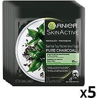 Garnier Maschera in Tessuto Skin Active Pure Charcoal, Formula Arricchita con Carbone Vegetale e Acido Laluronico per Pelli Normali o Miste, Confezione da 5 Pezzi