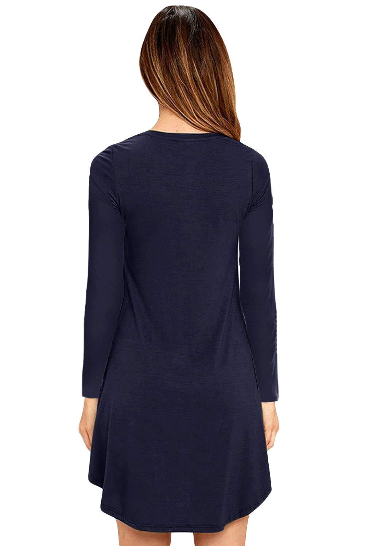 Eanklosco Donna V Neck Vestito Swing Semplice Increspatura Manica Lunga Sciolto Casuale Pianura Maglietta Vestito Tasche (Blu Navy, L)