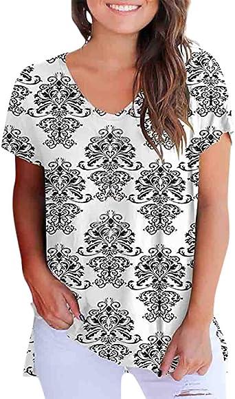JYJM - Camisa de Mujer con Flores, Cuello Alto Estampado, Manga Corta, Floral, Camiseta, Casual, Camisa Vintage Blanco Blanco 2XL: Amazon.es: Relojes