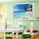 Amaonm New Design Removable Huge Large 3D Beach Sea Window View Art Decor Wallpaper Mural Wall Decals Sticker for Home Wall Art Decor Kids Bedroom Living Room Decorations