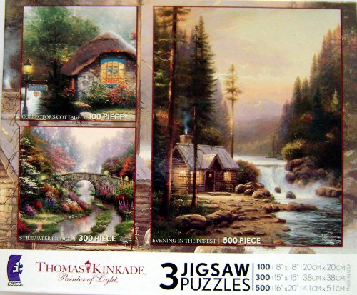 (Ceaco Thomas Kinkade 3 in 1 - Collector's Cottage, Stillwater Bridge and Evening In The)