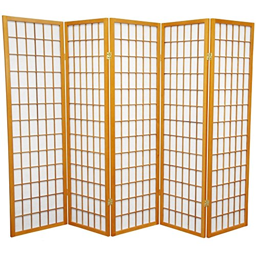 Oriental Furniture 5 ft. Tall Window Pane Shoji Screen - Honey - 5 - High Dividers 60 Inch