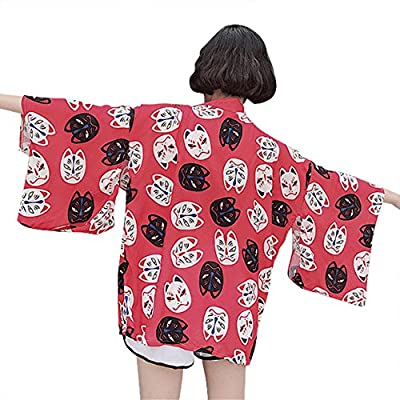 ZooBoo Japanese Kimono Dress Cardigan - Traditional Jacket Fox ClothingRobe Costume Bathrobe Sleepwear for Women Girls