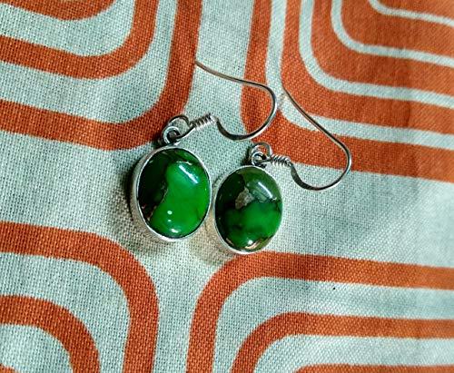Green Turquoise Earrings, 925 Sterling Silver, Boho & Hippie Earrings, Casual & Fine Jewelry, Statement Earrings, Gift For All, Modern Design Earrings, Valentines Day Jewelry, December Birthstone