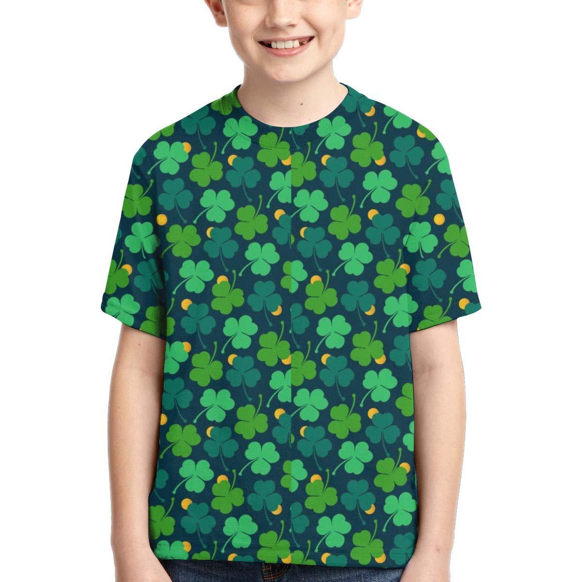 HHTZTCL Green Shamrock Kids Print Graphic Tee Short Sleeve T-Shirt