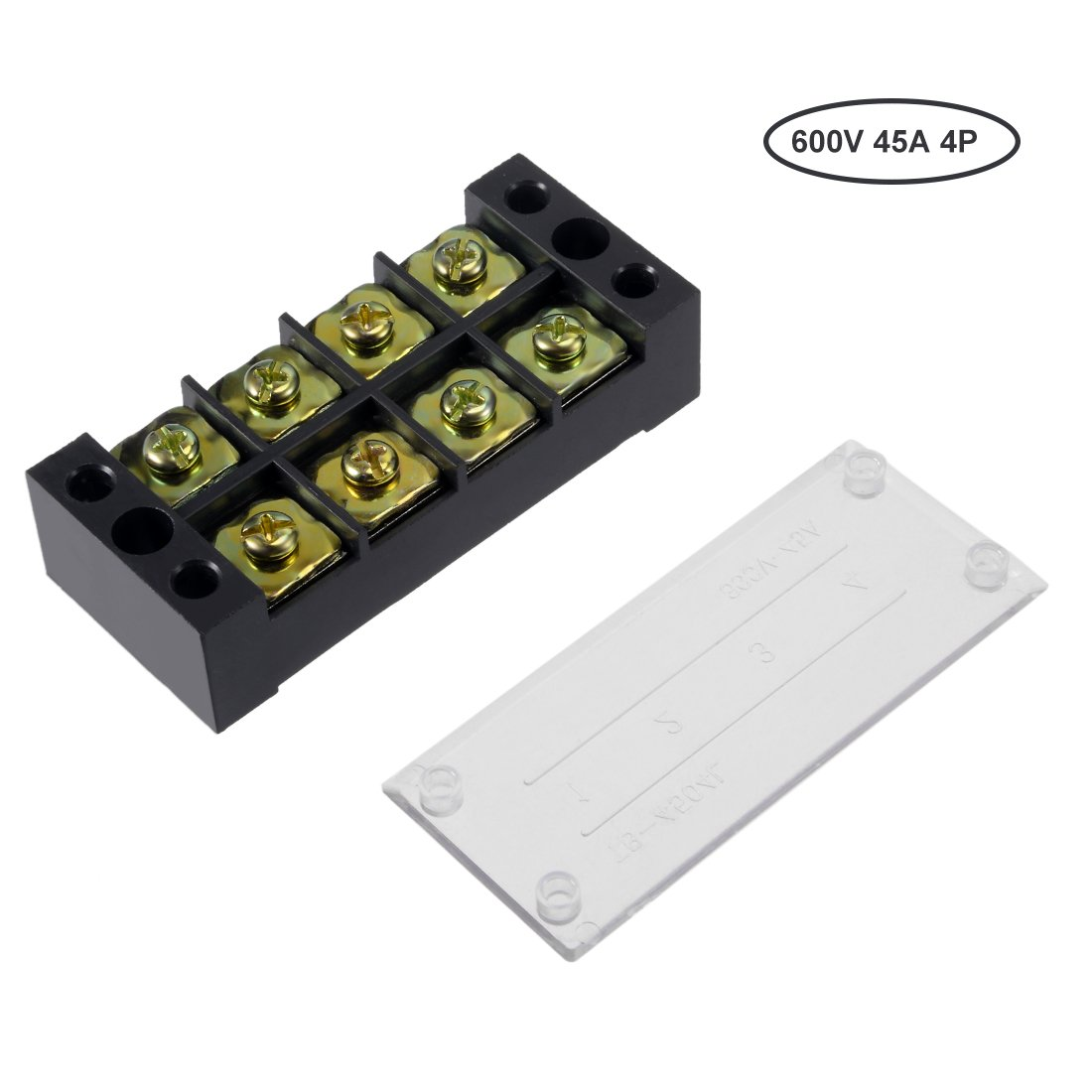 uxcell 4 Pcs Dual Rows 3 Positions 600V 15A Cable Barrier Block Terminal Strip TB-1503L